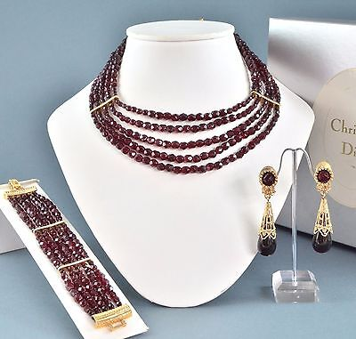 Vintage Boxed CHRISTIAN DIOR Red Crystal Necklace Bracelet & Earrings Jewellery