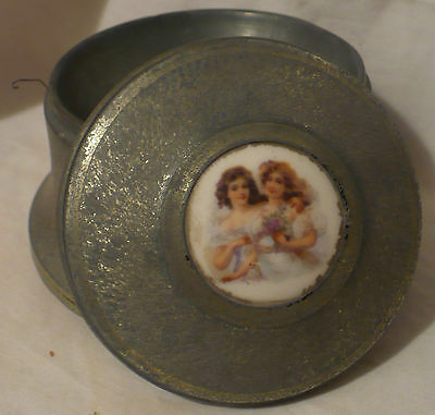 Vtg Victorian Aluminum Powder Tin Music Box Plays Easter Song Perfect for Basket