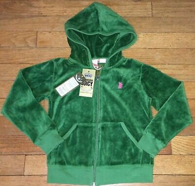 New Juicy Couture sz 6 Girl's Green Velour Hooded Jacket Kids NWT