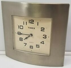 Timex Square Brushed Stainless Steel Battery Wall Clock Quartz Retro