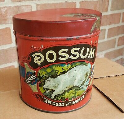Rare Vintage Opossum Cigar Tin Missing Key Good Condition