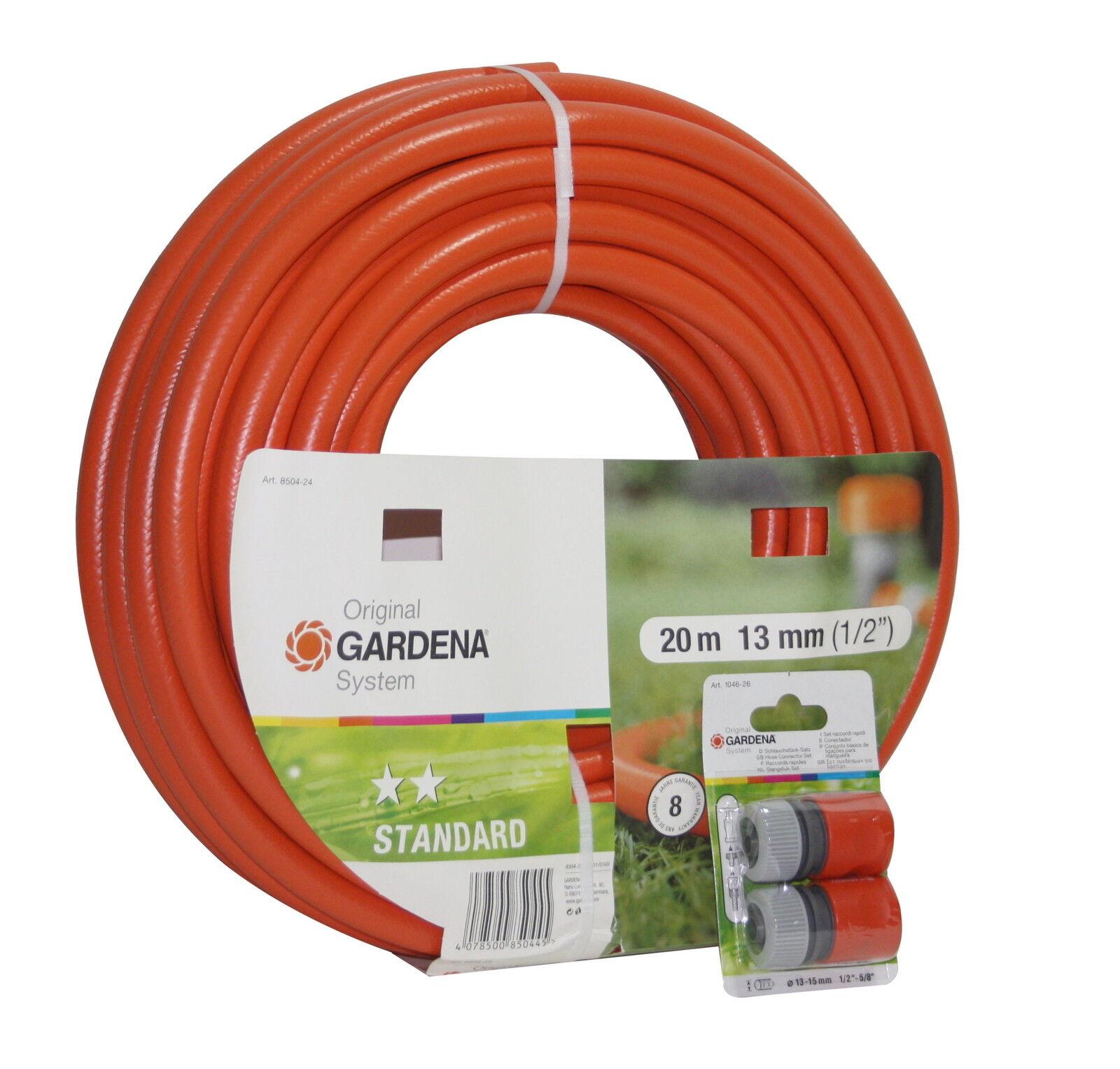 "Gardena Garten Schlauch 1/2"" 20m + 2x Schlauchstück Bewässerung Wasserschlauch"