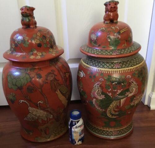 Chinese large pair Wucai ginger jar temple vase foo dog lid bird Famille Verte!