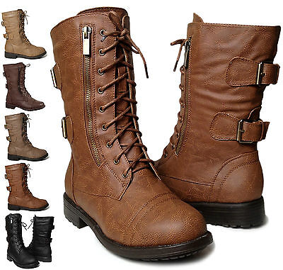 NEW Womens Lace Up Military Combat Buckle Strap Zipper Low Heel Boot Size 6-10