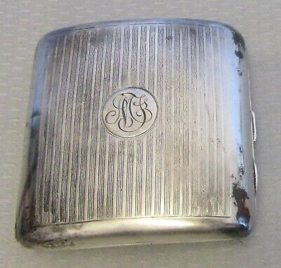 antique 1898 English STERLING SILVER CIGARETTE CASE curved pocket engine turned