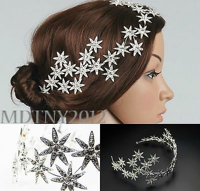 New Jewelry Crystal Stars Chain Headband Wedding Prom Crown Tiara Hair Accessory for sale  Shipping to India