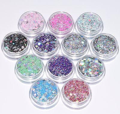 52,65€/100g 12 Dosen Glitter Pulver Glitzer Hexagon Mix Silber basteln NEU