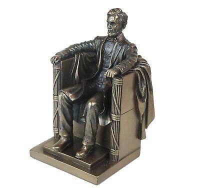 Seated Abraham Lincoln Memorial USA Bronze Figurine Miniature Statue 5.25
