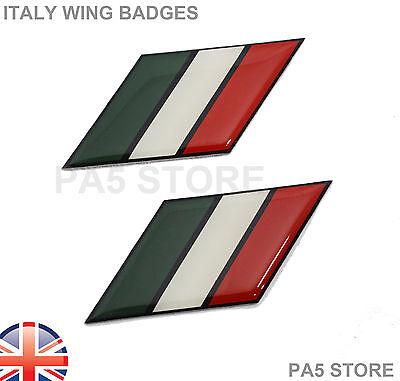 2x Italy Flag Wing Badges Car Van Bike Italian Fiat Lancia Maserati Alfa (2pcs)