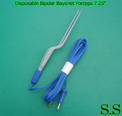 Disposable Bipolar Bayonet Forceps 7.25 Electrosurgical Instruments El-024