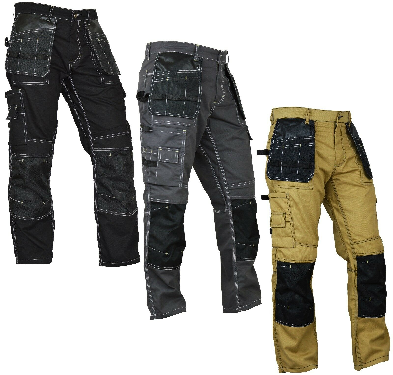Mens Construction Cordura Knee Reinforcement WorkWear Trouse