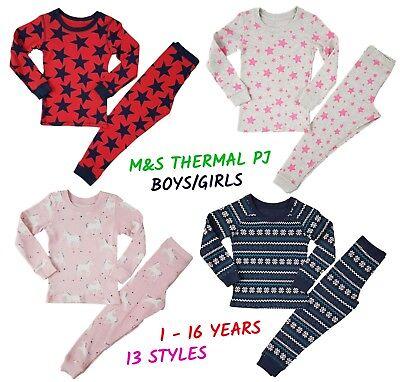 Ex M+S Girls Boys THERMAL Pyjamas Warm PJs PJ Set Long Sleeve Snuggle Fit Kids ()
