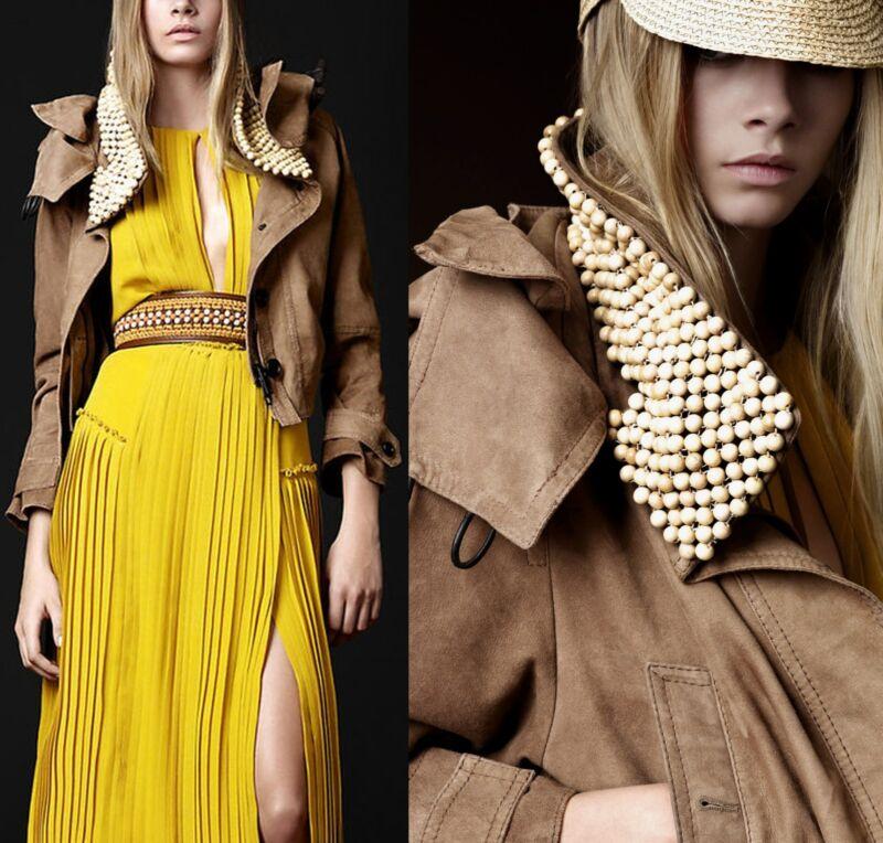 $5,500 Burberry Prorsum 8 10 42 Suede Beads Hoody Crop Parka Jacket Women Italy