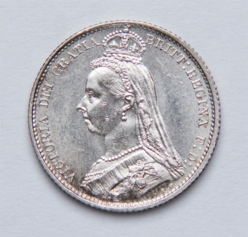 1887 Sixpence Silver Coin Great Britain Victoria UK KM#760 Jubilee Head 6p unc