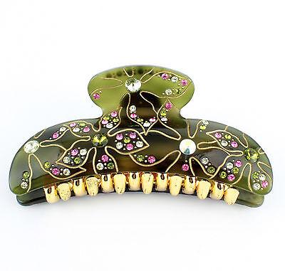 Mionne Flower Acrylic Austrian Rhinestone Crystal Hair Claw Clamp Barrette C190