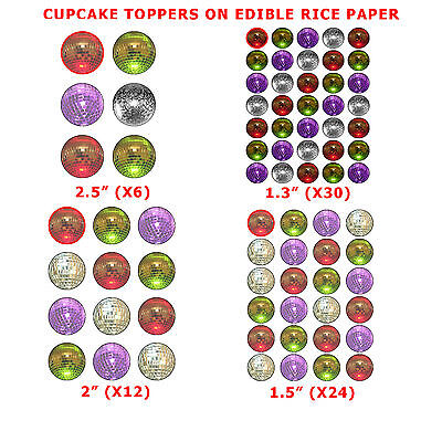 Mixed Disco Balls Cup Cake Toppers On Edible Rice Paper Red Green Silver Purple (Red Disco Balls)