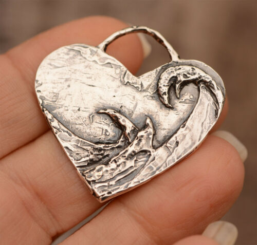 Wave on a Heart in Sterling Silver, Surfers Heart Pendant, SS-1038