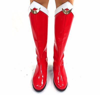 Gold Costume Boots (Sailor Moon Boots Red White Gold Cosplay Costume 4-12 knee boot low heel)