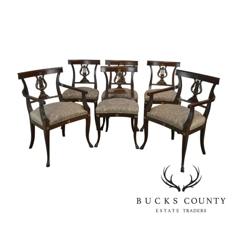 Regency Style Antique Mahogany Set 6 Lyre Back Dining Chairs