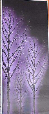 Set Of 3 Halloween Lighted Twig Trees 4ft 50 Purple Lights