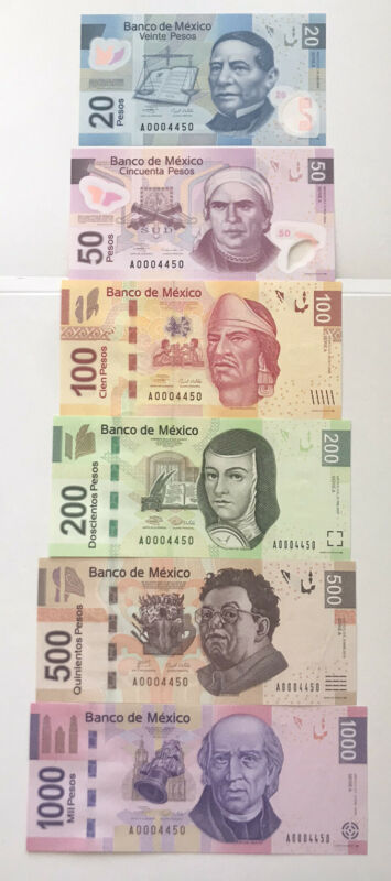 Mexico 20 -1000 Pesos 6 Pcs Banknotes Set 2004-10 UNC Matching Serial #,polymer