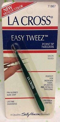 Sally Hansen La Cross Easy Tweeze Point Tip Tweezers 71867 Metallic color NEW for sale  Little Falls