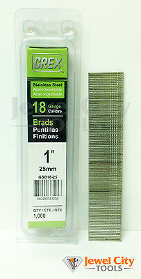 Grex 18 Gauge 1 Inch Long Stainless Steel Brad Nails - Gbs18-25 Qty 1000