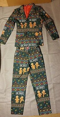 DEC 25th Ugly Christmas Suit Blazer Pants Gingerbread Man Men's Small  for sale  Marshfield