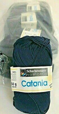 5 Schachenmayr Catania Yarn Skeins #124 Marine Blue Navy Cotton Sport Weight