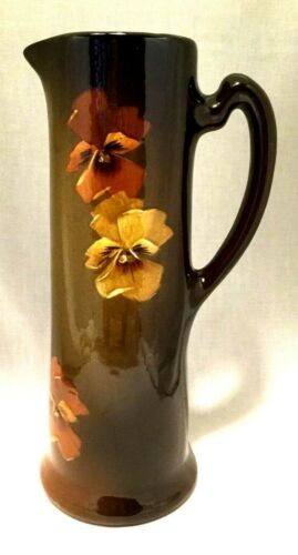 J.B. Owens Utopian Art Pottery Tankard Pitcher Brown Glaze-#1015-Flowers.  #3261