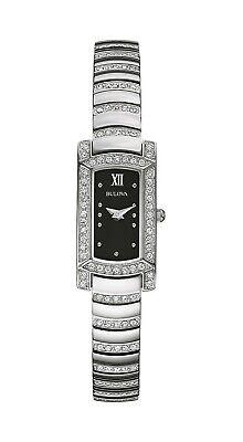 Bulova Women's Quartz Crystal Accents Markers Black Dial 15mm Watch 96L202