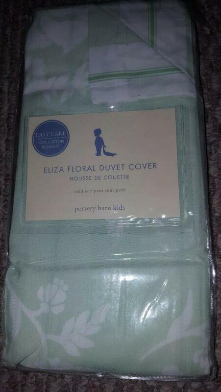 New Pottery Barn Kids GREEN Eliza Toddler DUVET Cover floral / stripe girl