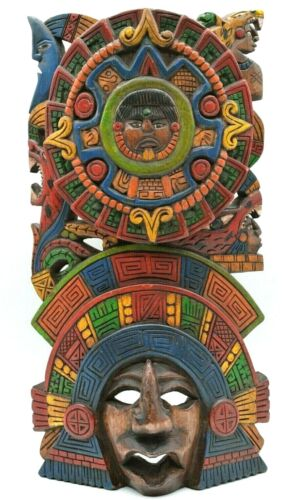 """Meticulously Hand Carved Maya Aztec Warrior Snake Wood Wall Mask Totem  Art 15"""""""
