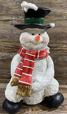 "Singing Ceramic Christmas Snowman Nose Lights Up Plays Jingle Bells 12"" Tall"
