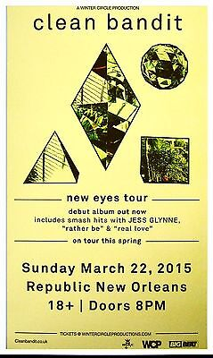 CLEAN BANDIT 2015 Gig POSTER New Orleans Concert Louisiana