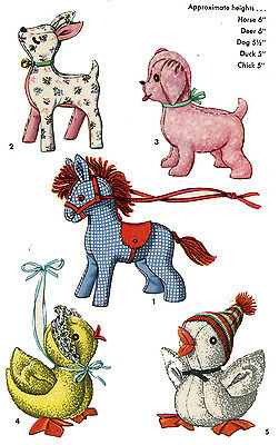 Stuffed Animal Toy Patterns Horse Deer Dog Duck Chick 1950s all 5 to 6 inches