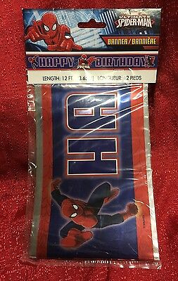 Marvel ULTIMATE SPIDER-MAN MYLAR HAPPY BIRTHDAY BANNER 12' Ft New