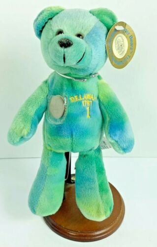 Delaware State Quarter Bear 1767 Timeless Toys Plush Beanie Stand Collectible