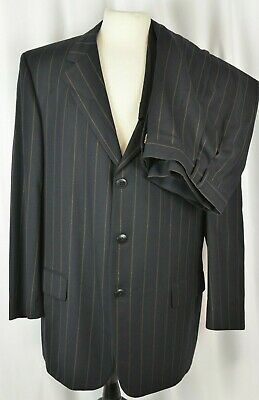 Gianni Versace Couture Men's Suit Size 56 Italy Pin Stripe Navy 46 US Pleated