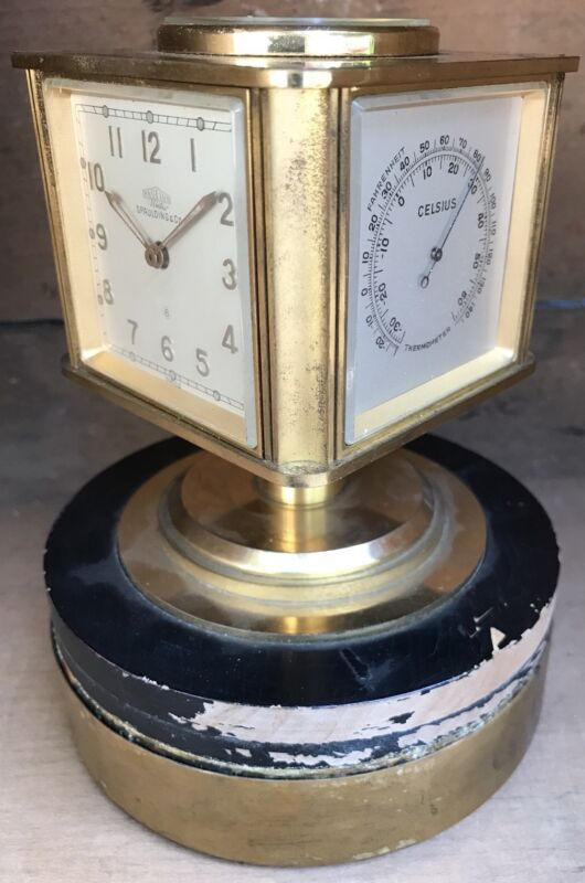 Vtg 50s Angelus Spaulding Co 8 Days Table Clock Weather Station Compass 5 In 1