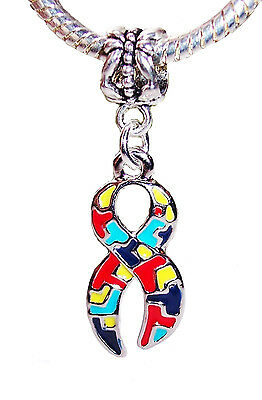 Autism Awareness Puzzle Piece Ribbon Enamel Dangle Charm for European Bracelets
