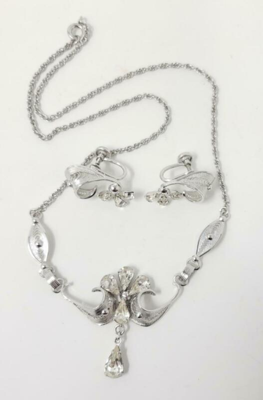 ESPO Flex Sterling Rhinestone Silver Tone Necklace Screw Back Earrings