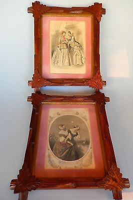 Eastlake Adirondack Carved Frames Set of 2 Godey's Fashion Prints 1890s