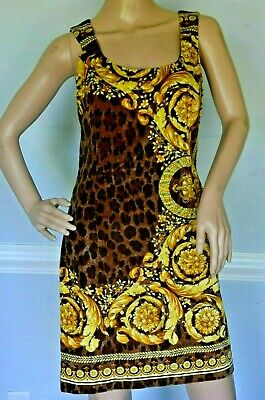Gianni VERSACE Baroque Leopard Medusa Logo Velvet Cocktail Dress US 4 6 / IT 42