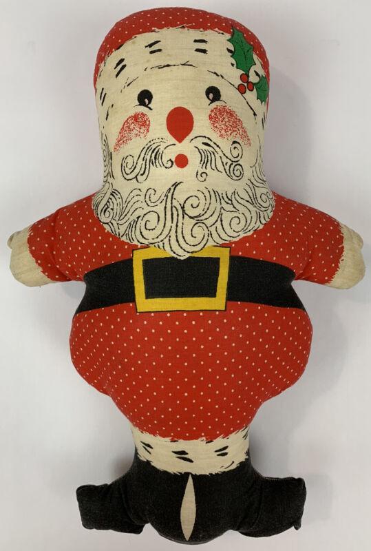 "Vintage Fabric Santa Claus Christmas Pillow Stuffed Handmade Toy 18"""