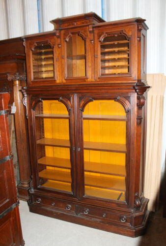 Antique Two Piece Victorian Walnut Bookcase and Attached Horizontal File Cabinet