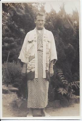 1950s SNAPSHOT PHOTO CAUCASIAN MAN WEARING ASIAN FASHION