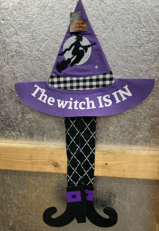 """Hanging Felt Witch Legs & Hat Halloween Decor """"The Witch Is In"""" Black / Purple"""
