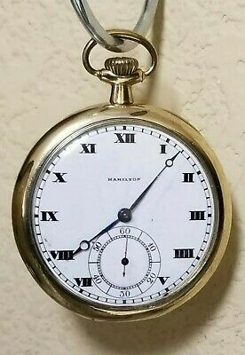 """Antique 1918 HAMILTON """"910"""" 14K Gold Filled Pocket Watch 17 Jewels - FOR REPAIRS"""