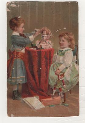 """vintage 3 x 4 3/4"""" Victorian Trade Card 2 Child Girls look at Doll on tall Table"""